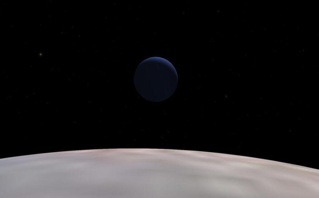 Neptune seen from above Triton in Celestia.