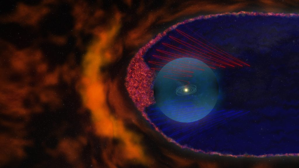Artist's interpretation depicting the new view of the heliosphere. The heliosheath is filled with