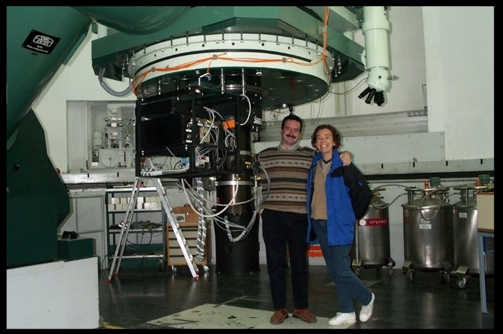 Observing at Calar Alto with my friend Anna Pasquali. The picture was taken around the time of our work on the North America Nebula, but here we appear with the 1.23 meter telescope, not the telescope that we used in that work.