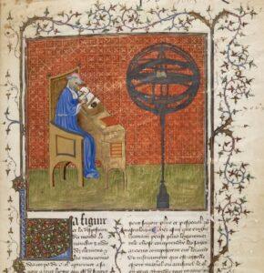 Nicole Oresme, pictured in an early 15th-century manuscript copy of his Traité de la sphère ; Aristote, Du ciel et du monde.