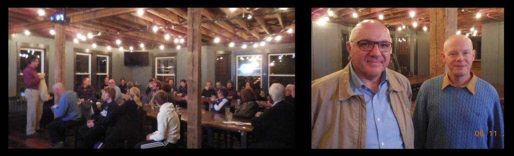 Left: A talk at Monnik Beer Co. in Louisville, Kentucky, on the universe as portrayed in the Star Wars movies. Monnik is a pub/restaurant, so younger attendees are welcome. Right: Lutz Haberzettl and Gerry Williger at Monnik.