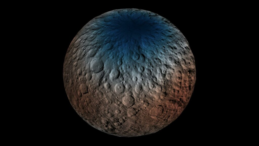 This map shows a portion of the northern hemisphere of Ceres with neutron counting data acquired by the gamma ray and neutron detector (GRaND) instrument aboard NASA's Dawn spacecraft. These data reflect the concentration of hydrogen in the upper yard (or meter) of regolith, the loose surface material on Ceres. The color information is based on the number of neutrons detected per second by GRaND. Counts decrease with increasing hydrogen concentration. The color scale of the map is from blue (lowest neutron count) to red (highest neutron count). Lower neutron counts near the pole suggest the presence of water ice within about a yard (meter) of the surface at high latitudes. Image Credit: NASA/JPL-Caltech/UCLA/MPS/DLR/IDA/PSI