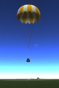 Parachute landing on Kerbin