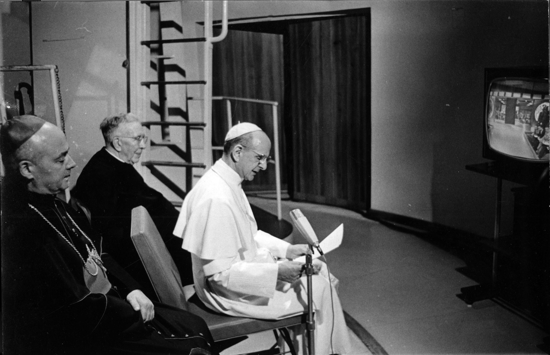 Pope Paul VI watching the moon landing