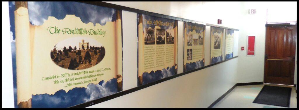 The Jackson Hall exhibit panels.