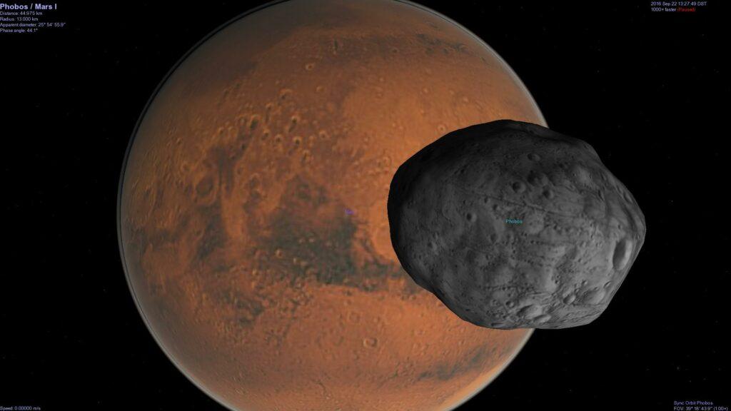 Phobos and Mars.