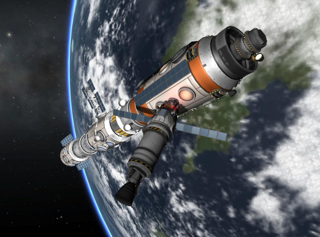 Performing science at space station in Kerbal Space Program.