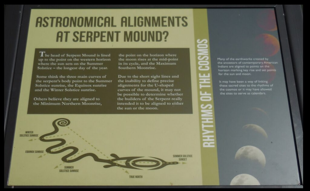 Plaque discussing the possible astronomical significance of Serpent Mound.
