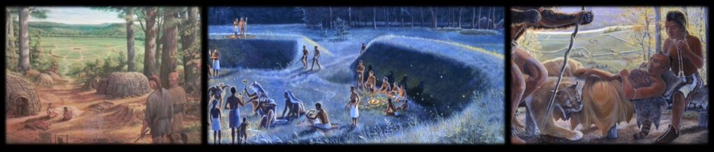 A montage of representations depicting both the Native Americans who built the places in Ohio such as Serpent Mound and the structures that they built. These images are details from larger works (see the Ancient Ohio Art series and the Appalachian Forest Museum) depicting activities at various Ohio locations.