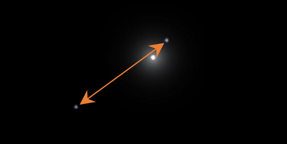 This image shows Sirius B at approximately the two extremes of its orbit. The distance measures to be about 68 millionths of a radian.