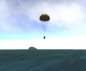 About to splashdown in Kerbal Space Program.