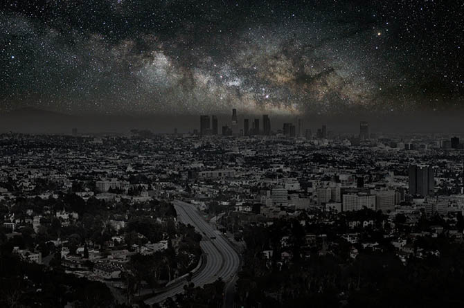 Stars over Los Angeles. From Thierry Cohen's Villes Eteintes series, via The New York Times.