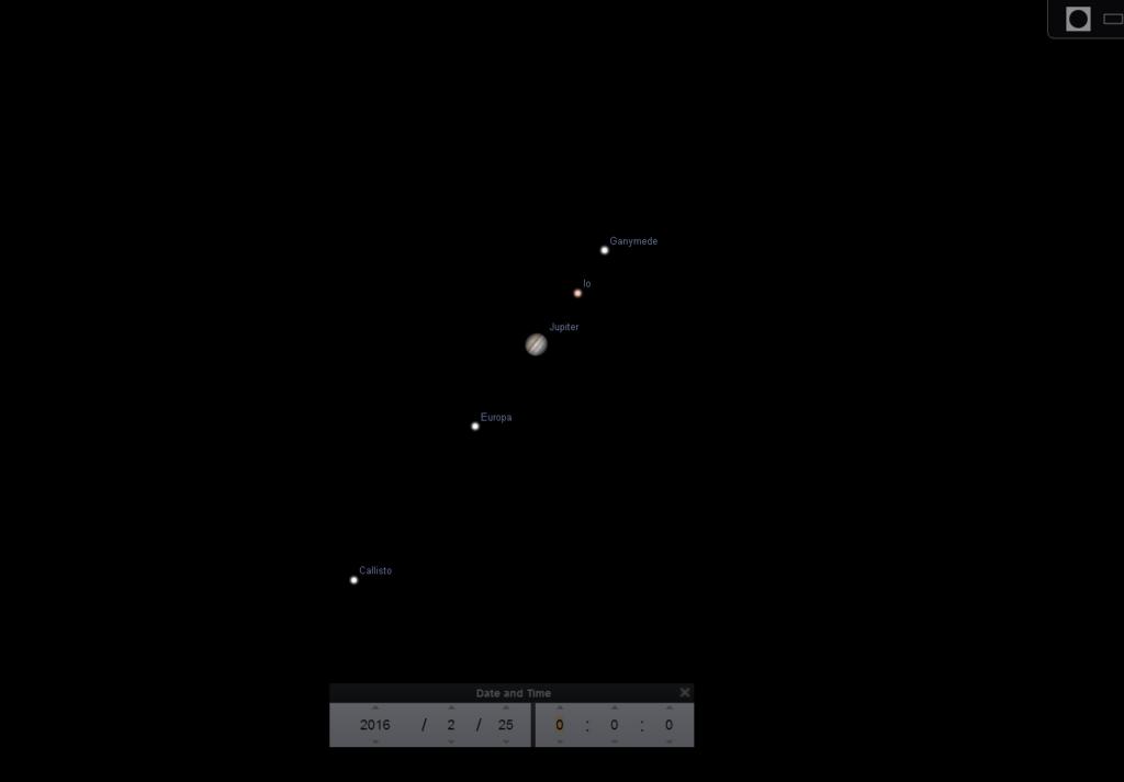 Jupiter seen magnified in Stellarium.