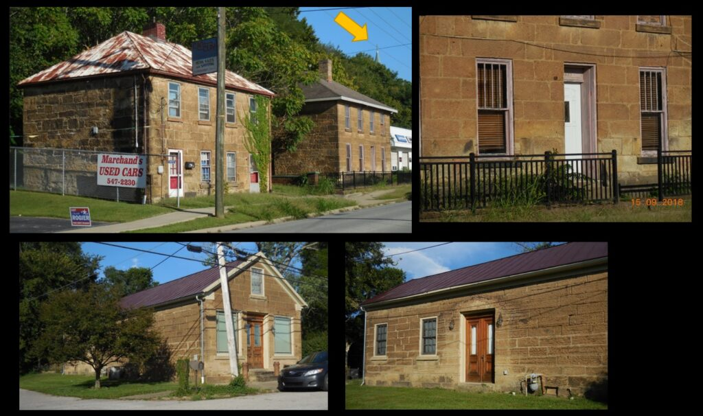 Three houses in Cannelton whose residents might have even less worry in severe weather than those who reside in the Cotton Mill Apartments. Both structures in the top row were built in 1850*. The right-side photo shows the thickness of the walls of these structures. The arrowed steeple in the left-side photo is St. Michael's church. The house in the bottom row was built in 1887.*