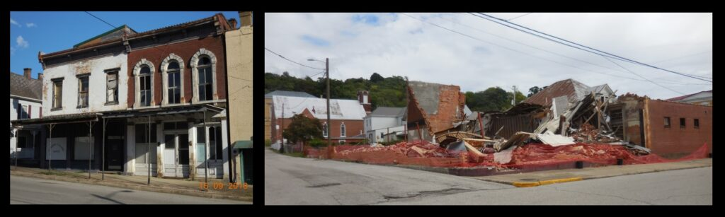 """Cannelton is on the """"10 Most Endangered"""" list compiled by Indiana Landmarks. The building seen at right collapsed into a pile of bricks this past summer."""