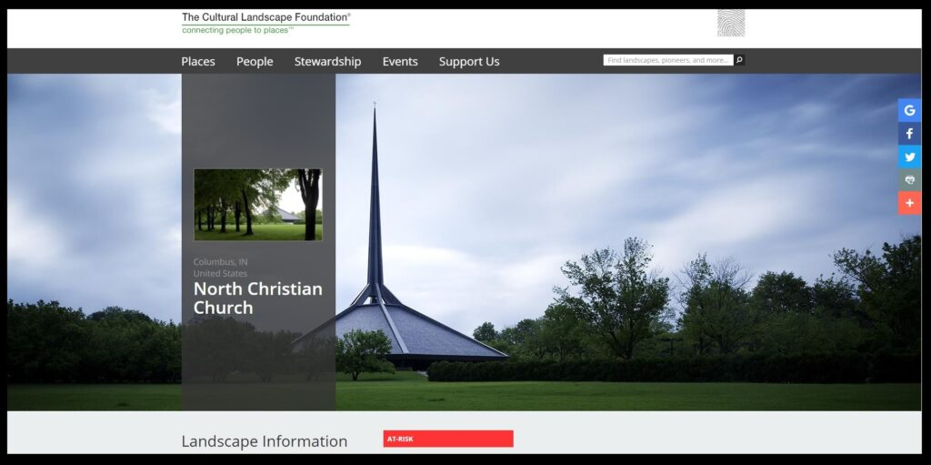 """North Christian Church in Columbus, Indiana is on the """"10 Most Endangered list of Indiana Landmarks"""". This screen shot from the web page of the Cultural Landscape Foundation shows the church, built in 1964, as """"at risk""""."""