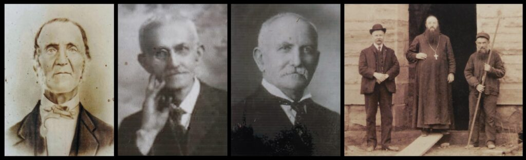 """The three portrait photos are, from left to right: Peter George, Frank J. George, and John P. George. The photo at far right is from the 2004 book To Draw Down Heavenly Dew: 150 Years of Monastic Life, Prayer and Work at Saint Meinrad Archabbey, showing """"Abbot Athanasius Smith with some workmen building the Archabbey Church in March 1905"""". The man on the left in this photo appears to be John P. George."""