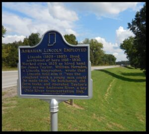 Historical marker west of Troy, noting Abraham Lincoln's work on the Anderson River.