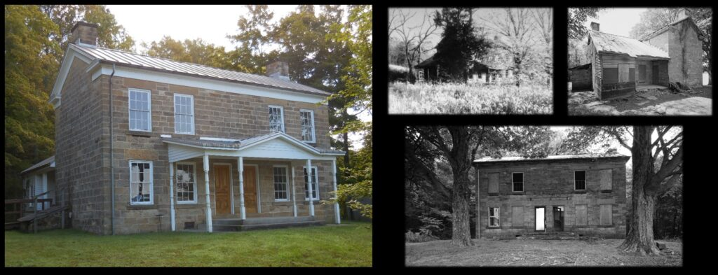 The Jacob Rickenbaugh house today, and in times when it was abandoned.