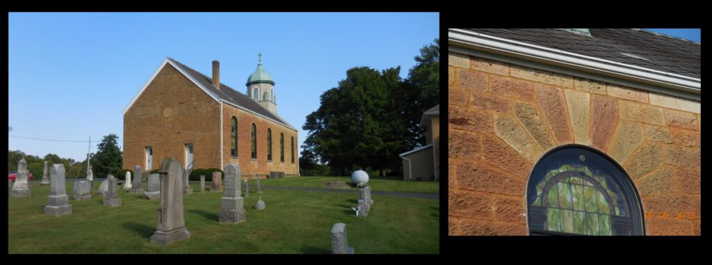 Left—Holy Cross Church in St. Croix, Indiana, a few miles north of the Rickenbaugh House. Right—detail of stonework in Holy Cross Church. The church was constructed in 1881.