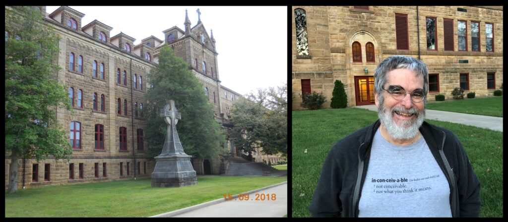 Left—St. Meinrad Archabbey. Right—Br. Guy, blogger-in-chief of The Catholic Astronomer and Director of the Vatican Observatory, at St. Meinrad (there to give a talk and workshop in September 2018).