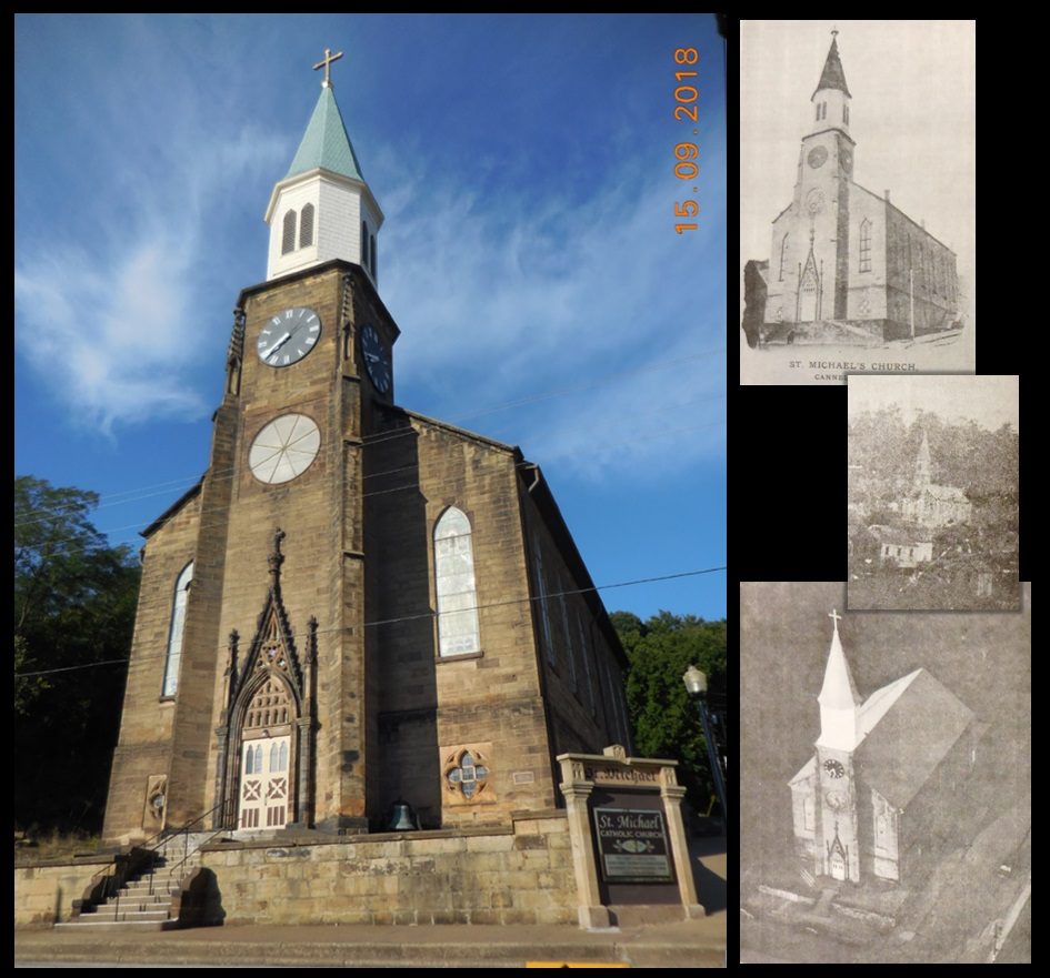 St. Michael's Church in Cannelton, along with (from top to bottom) images of St. Michael's from 1898, 1863, and the mid-20th century. Historical images are from the book St. Michael's On the Hill & St. Patrick's Church, by Michael F. Rutherford (McDowell Publications, 1986).