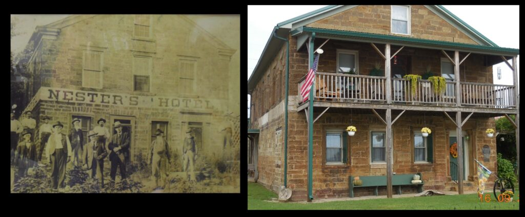 The former Nester's Hotel in Troy, Indiana, built in 1863 by John G. Heinzle.* The hotel building (now a private residence) is located right on the banks of the Ohio River—convenient for nineteenth-century river travelers.