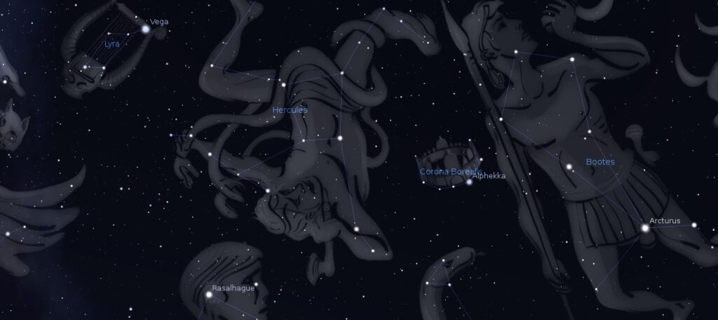 Some of the stars of the summer sky as represented by the Stellarium planetarium app.