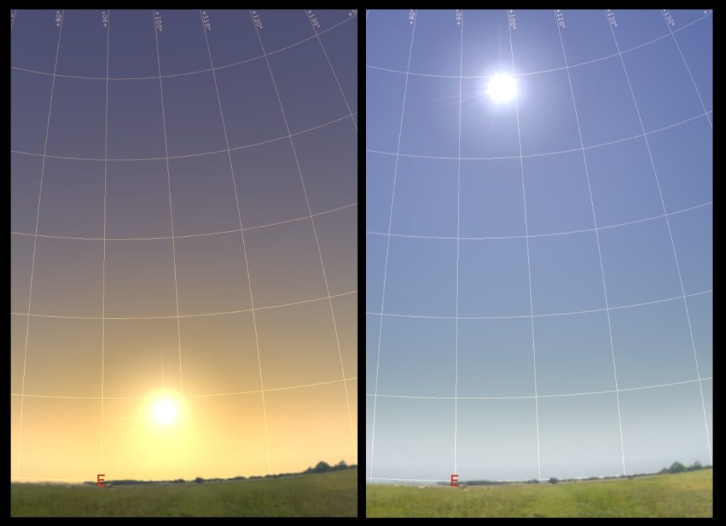 The elevation of the sun on March 18 and June 17 (simulated pictures). Both pictures show the sun when it has an azimuth angle of 8° S of E.