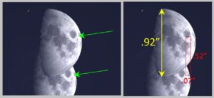 Measuring the difference in the moon's position using a distinct feature on the lunar surface—a small dark spot.