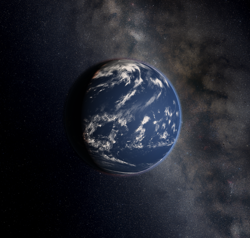 Simulated Water World Exoplanet in: Universe-Sandbox²