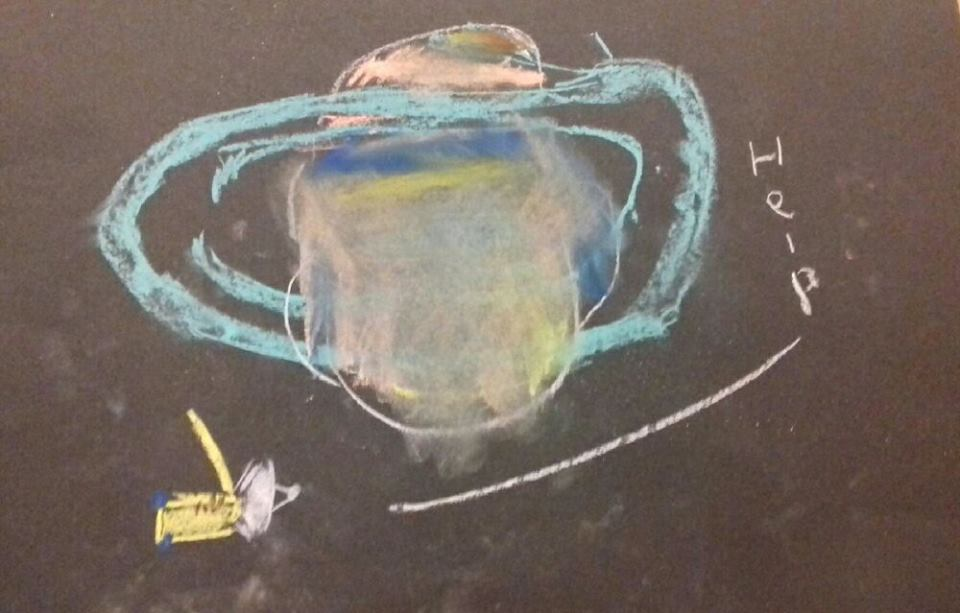 Cassini shouts HELP as it plunges into Saturn - A drawing produced by a young child at Deirdre's Spectacular Cassini workshop.
