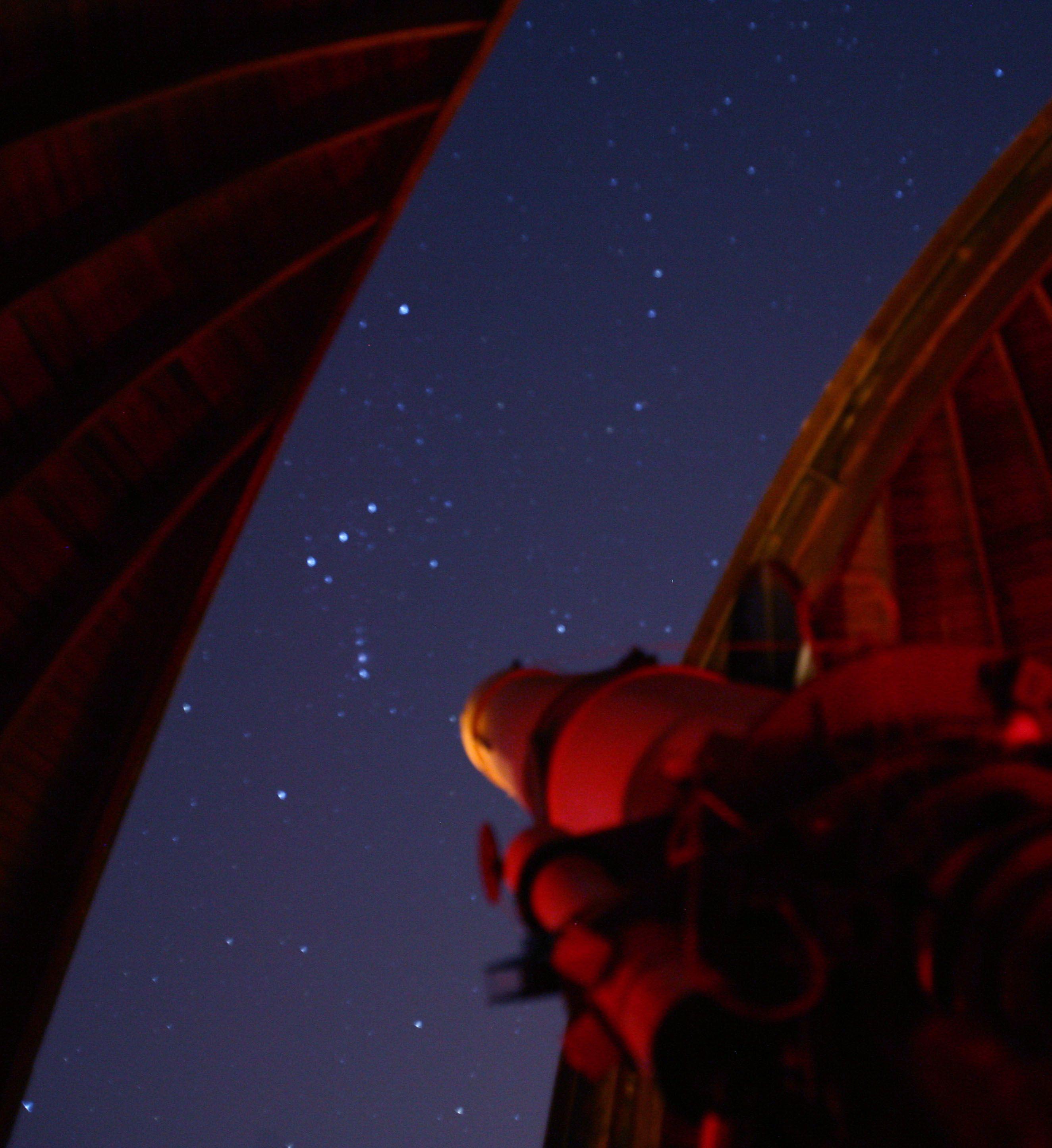 Orion captured through the slit of the Visuale telescope at Castel Gandolfo. Credit: Alfredo Matacotta