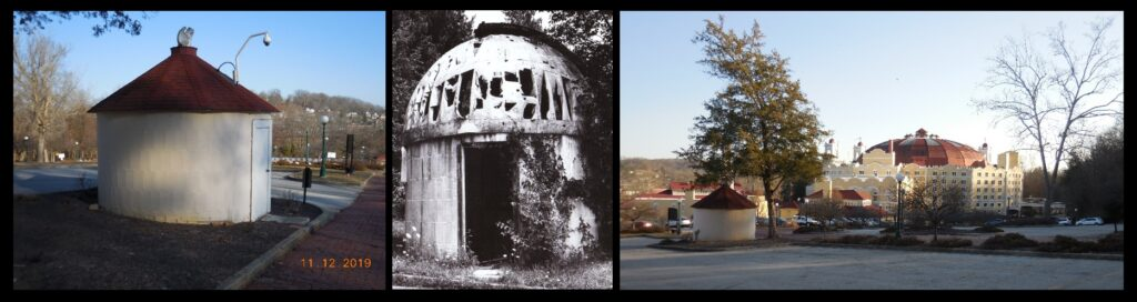 """Left: The West Baden College observatory today. The dome has been removed and replaced with a conical roof. The structure is not being used as an observatory and has no instrument. Center: The observatory was abandoned after West Baden College closed in the 1960s. The dome, while in ruins, is obvious in this older photo. Right: the observatory and the West Baden Hotel today. The observatory was likely the project of Fr. Joseph R. Habes, S.J.; Fr. Habes wrote two articles for Sky & Telescope magazine, one in September of 1943, entitled """"Saluting an Astronomer"""", and one in October 1944, """"Aristotelian Cosmology or A Romance of Manhattan"""". He is identified in these articles as being from West Baden College. The observatory might have been outfitted with a 5"""" refractor. An Astromart advertisement from some years ago features """"an old brass 5-inch F-15"""" for sale that had been """"found in the attic at an old hot springs resort in Baden Springs, Indiana, that had been taken over by the Jesuit priests"""". (The springs are not hot.) The advertisement says the telescope was found by a Fr. Carrera, """"a priest who used to be at John Carroll University"""" who the seller believed was """"still on the staff of the Vatican Observatory"""". The observatory building is not large; it would be about right for a telescope of that size."""