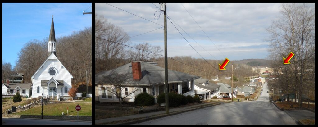 Left: Our Lady of the Springs in French Lick. Right: A street view of French Lick. Arrows indicate Our Lady of the Springs and the French Lick Hotel.
