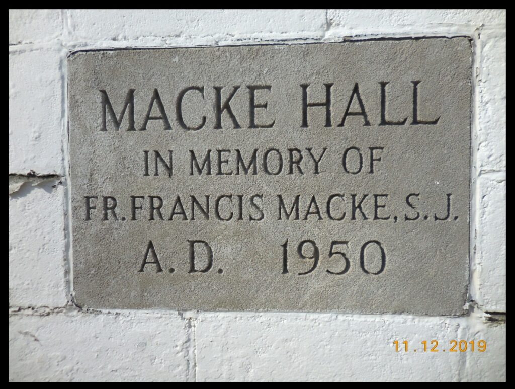Cornerstone of Macke Hall of Our Lady of the Springs. This photo is included because Br. Bob Macke, S.J. is an astronomer at the Vatican Observatory and a writer for this blog, and this stone honors Fr. Francis Macke, S.J. Any relation?