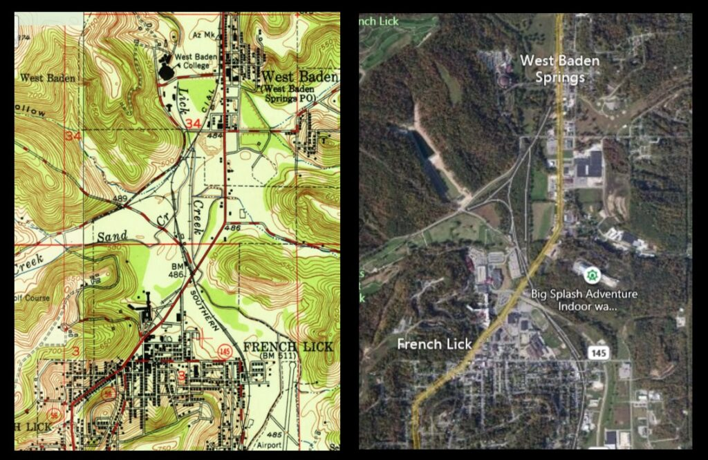 Left: 1951 map of the Springs Valley. Right: Present-day satellite view.