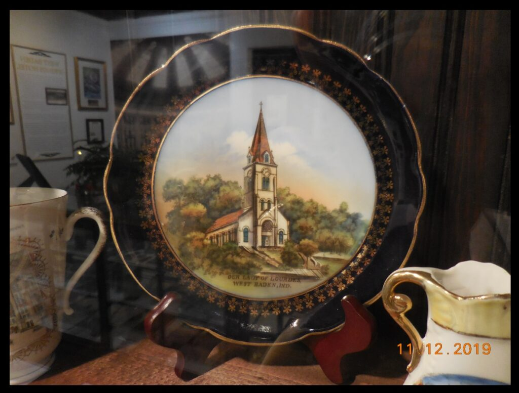 A Lourdes plate in the French Lick West Baden Museum.