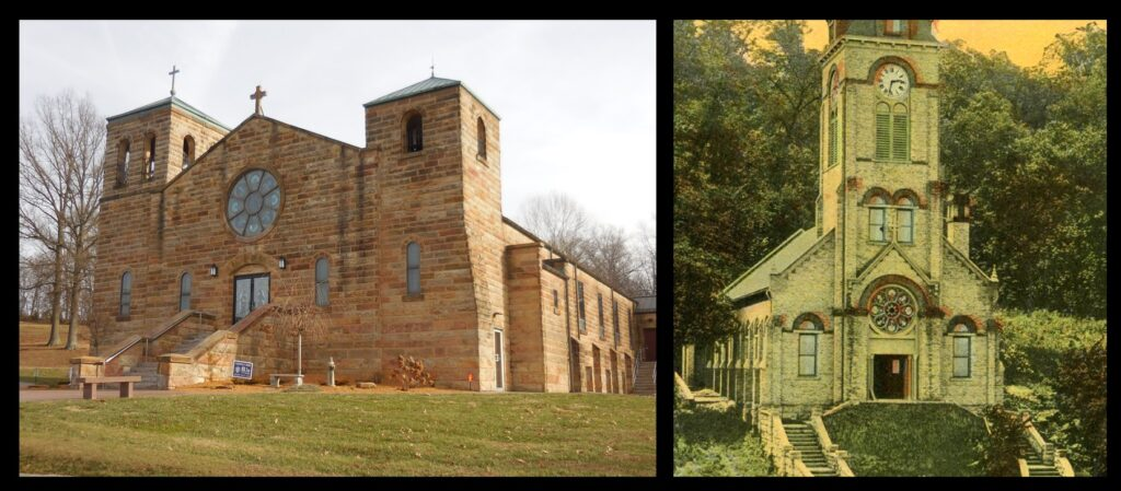 St. Raphael in Dubois, Indiana (left). Note the round window, visible in the photo of Lourdes (right).