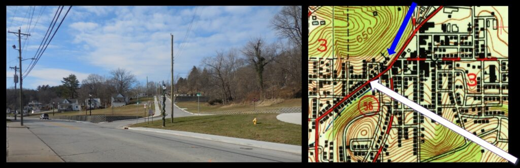 This intersection in the photo (left) is indicated by the white arrow on the 1951 French Lick map (right). Were this photo taken in the mid-20th century, there would be a dozen more homes in the picture. This is just around the corner from Our Lady of the Springs (blue arrow on the 1951 map) and just a few blocks from the French Lick Hotel.