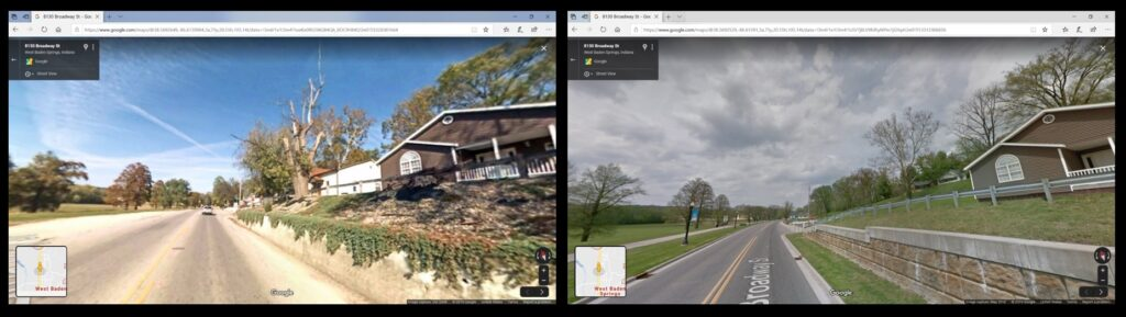 Google Street View images of the primary street in West Baden Springs show the disappearance of homes over a decade. The image on the left is from October 2008; the image on the right is from May 2018.