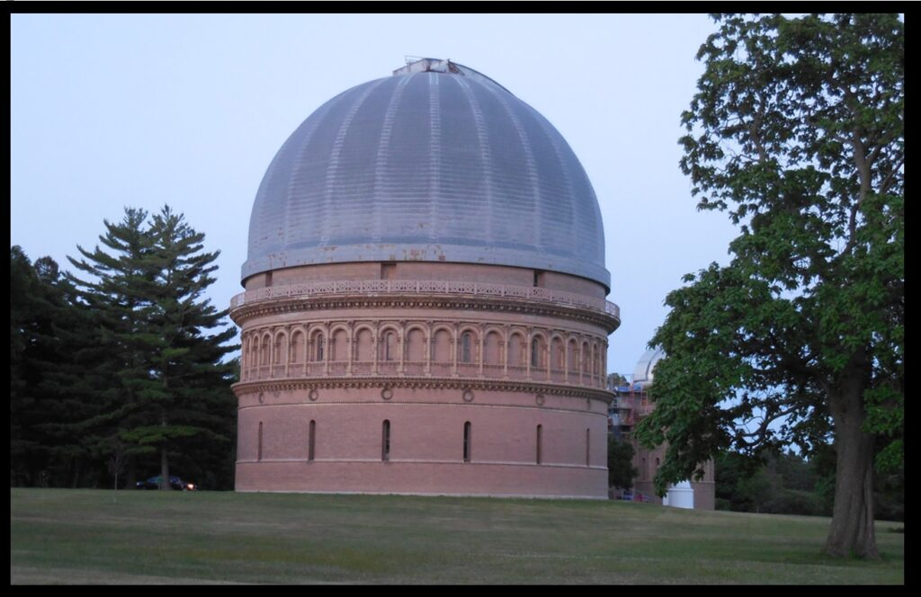 Above and below—two twilight views of the dome of the 40-inch.