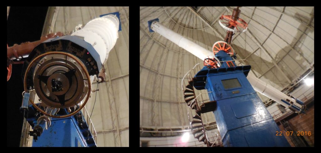 Left—the eye lens end of the refractor. Right, the refractor is big. See the spiral stair for a sense of scale.