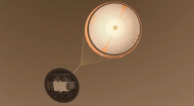 Artist's rendering of MSL's parachute deploying on Mars