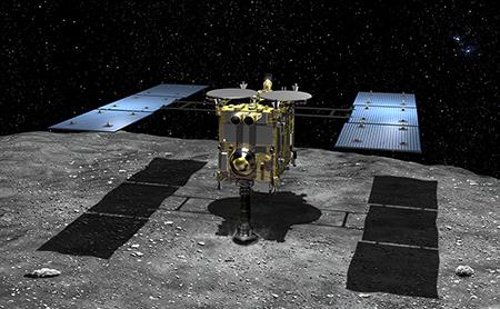Hayabusa2 taking a surface sample