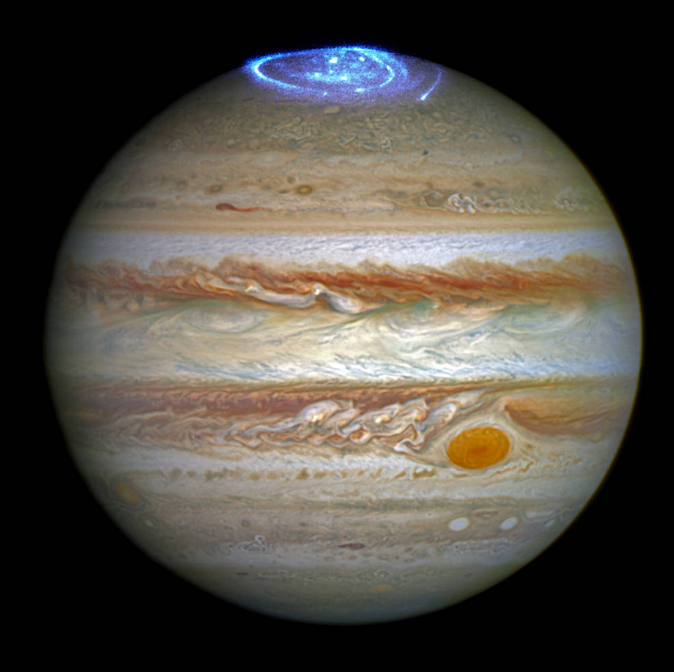 Released on June 30, 2016, this image shows aurora on Jupiter;s north poles taken in far-ultraviolet. Images were taken on April 21, 2014, May 19, 2016 and June 2, 2016. Credits: NASA, ESA, and J. Nichols (University of Leicester)