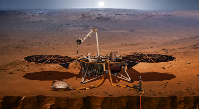 Artist's concept of the InSight Mars lander on the Red Planet