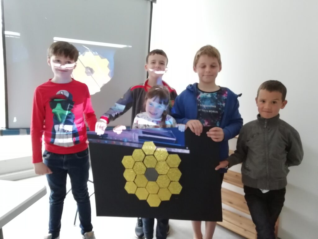 My small group at Space Camp in Louisburgh. Proud of their new James Webb replica mirror and knowledge !!