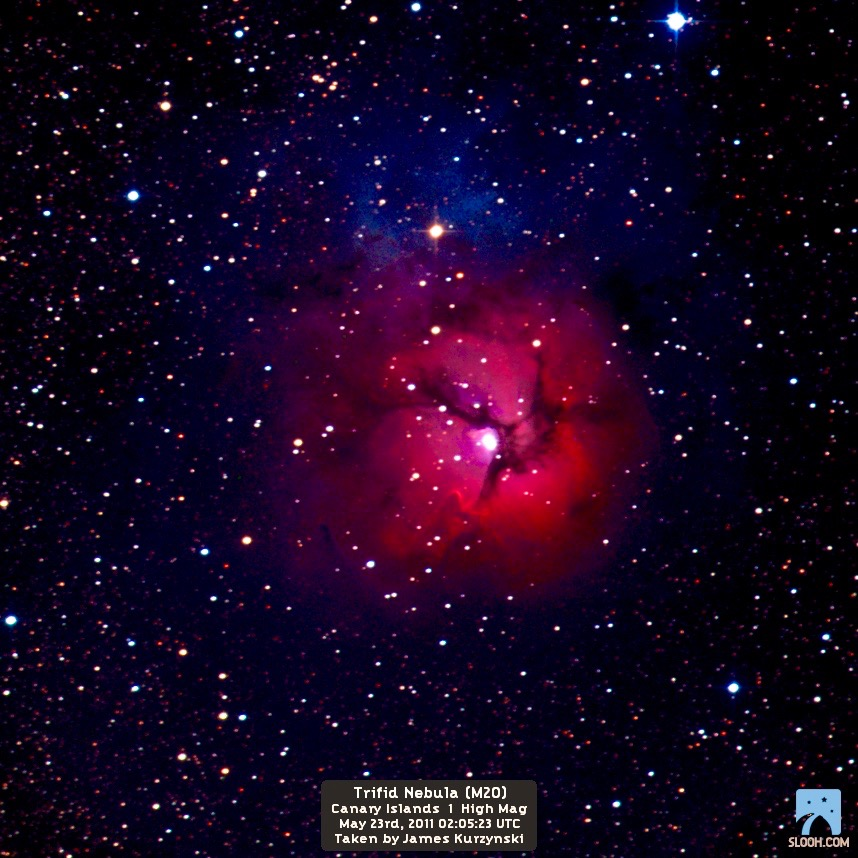 One of my favorite object, the Triffid Nebula. Though digitally altered, this object always evokes a sense of Awe and Wonder in me. Credit: Slooh.com