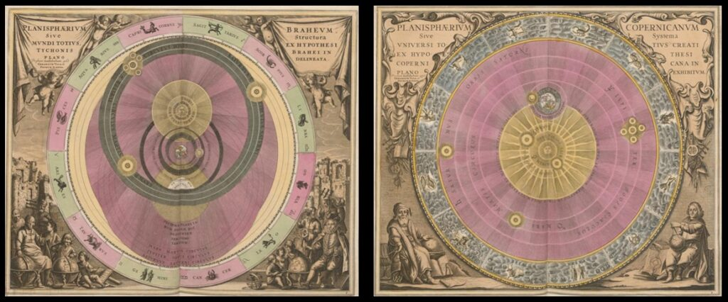 The Tychonic geocentric (left) and Copernican heliocentric